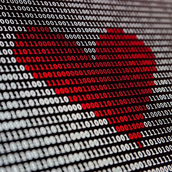 corazón hecho en código binario
